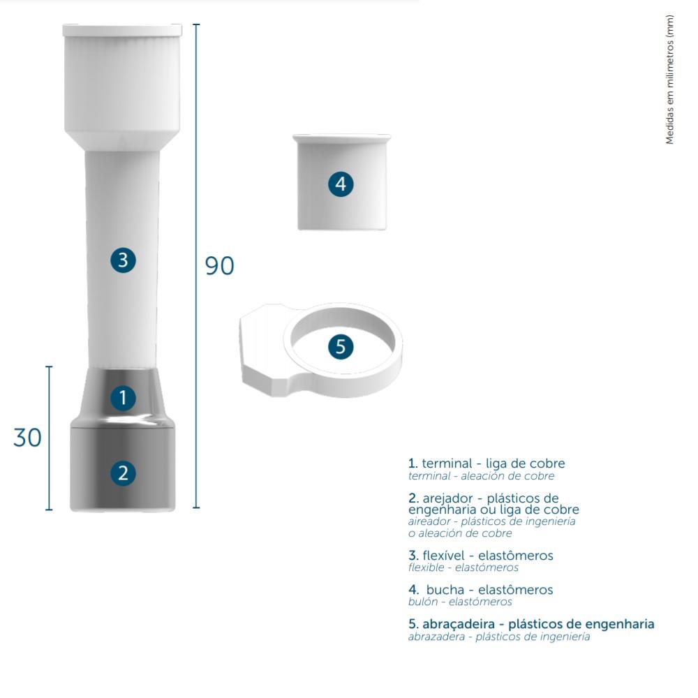 Extensor 9cm Arejador para Torneiras sem Rosca Blukit 110103