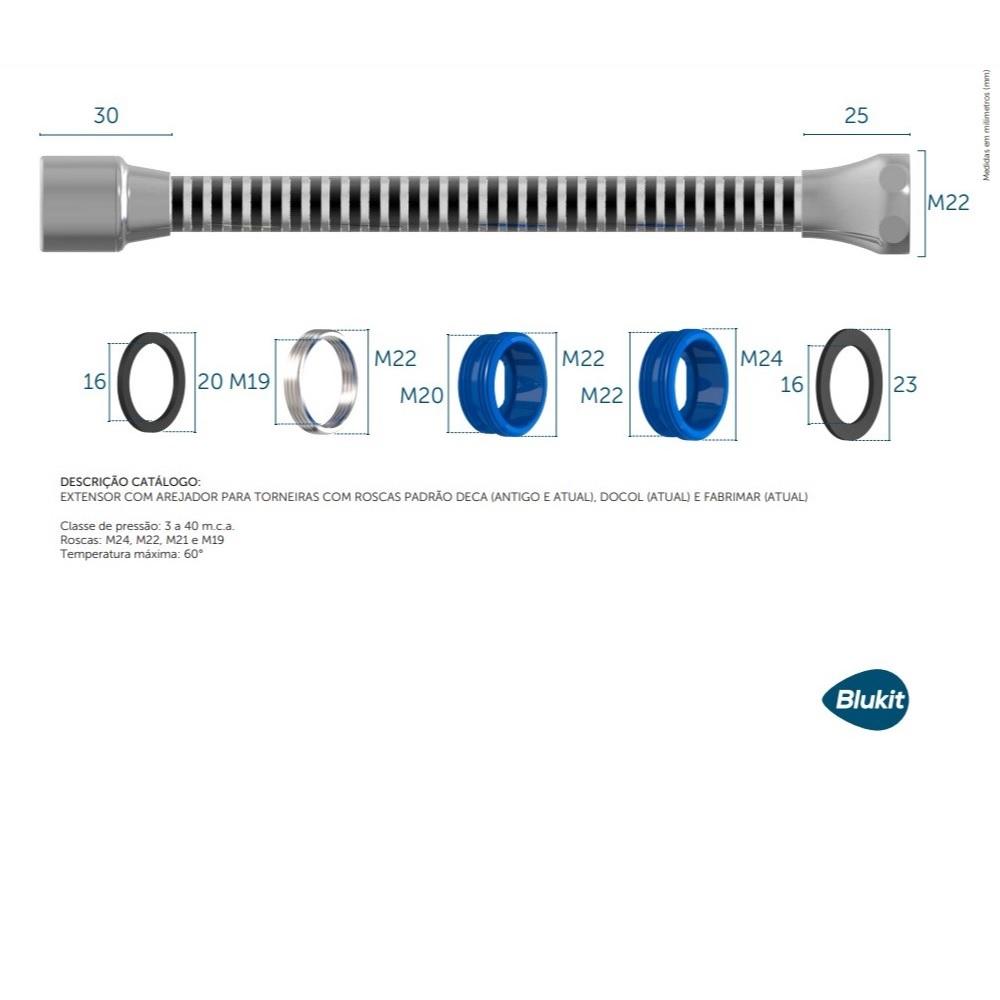 Extensor 9cm com Arejador para Torneiras Blukit 110204