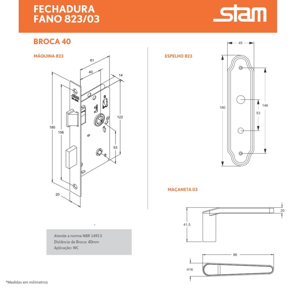 Fechadura Banheiro Espelho Inox 40mm Stam 823/03