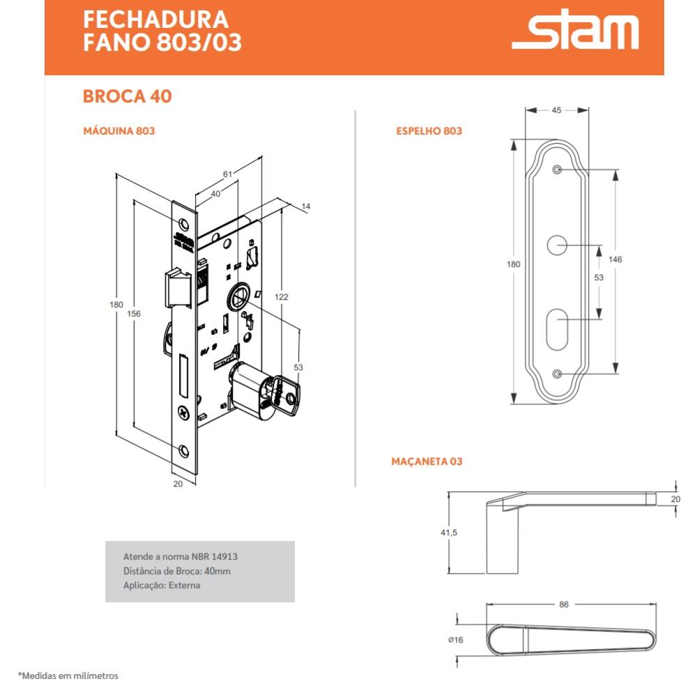 Fechadura Externa Espelho Inox 40mm Stam 803 03