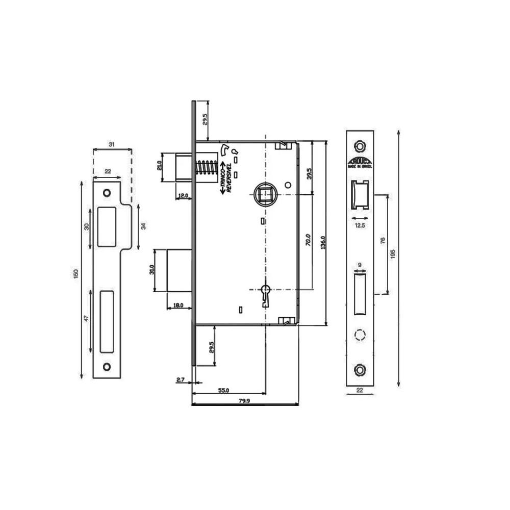 Fechadura Interna Roseta 55mm Inox polido Arouca Brava