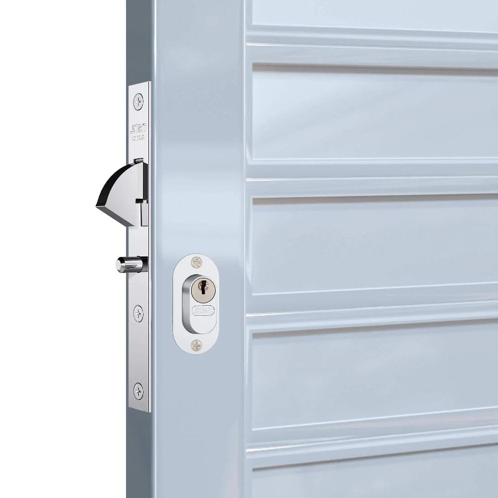 Fechadura Porta de Correr Externa 18mm Inox Polido Stam 901