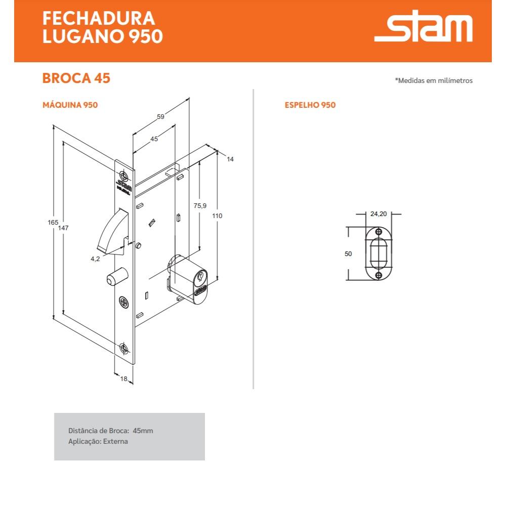 Fechadura Porta de Correr Externa 45mm Inox Polido Stam 950