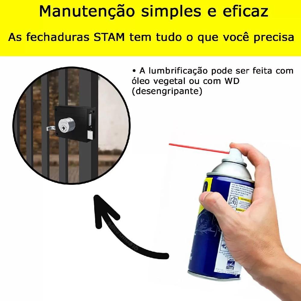 Fechadura Sobrepor Portoes Portas Externas Preto Fosco Stam 701 80