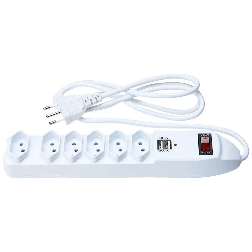 Filtro de Linha Bivolt com 6 Tomadas 10A e 2 Portas USB 1A Alumbra 3930