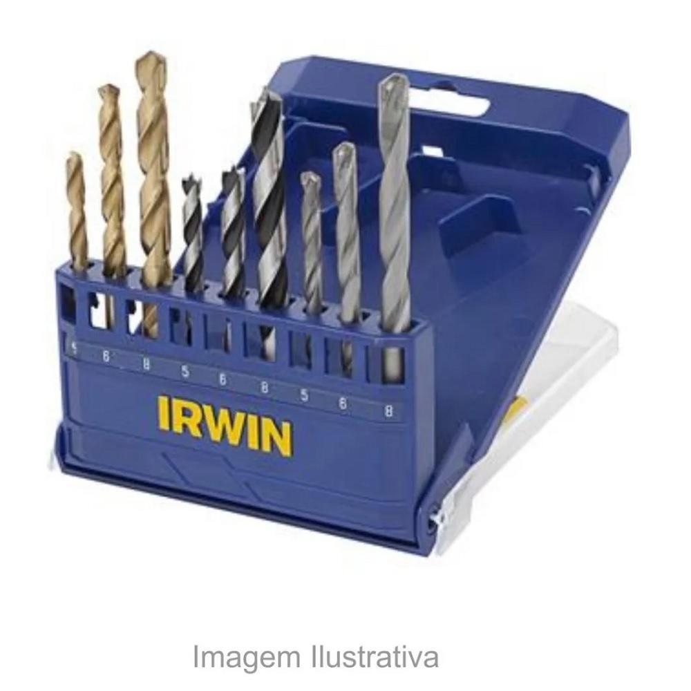 Jogo de brocas Metal Madeira e Concreto 9 pecas Irwin 891522