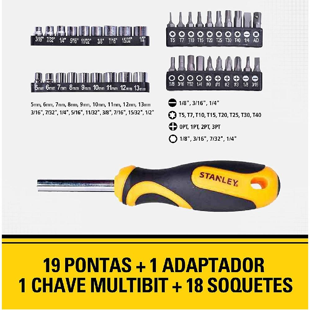 Jogo de Chaves Soquetes e Pontas com Bolsa 49 Pecas Stanley STHT70887M