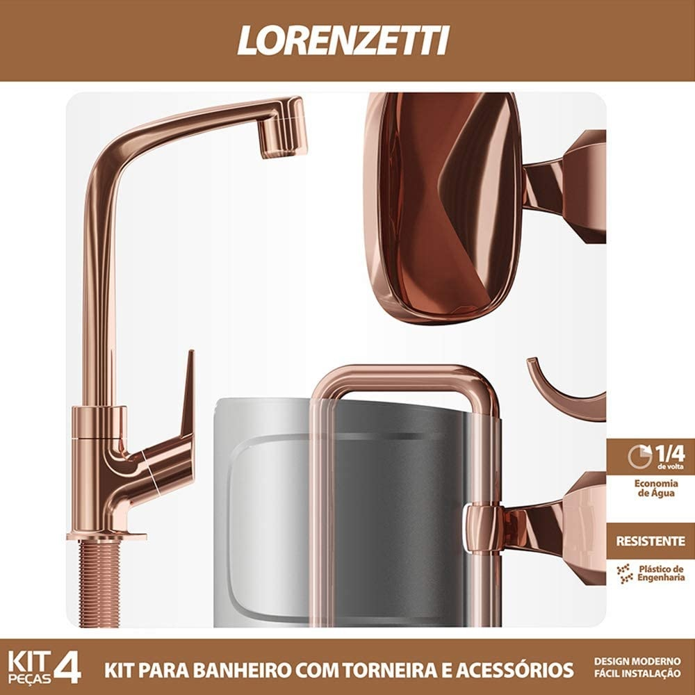 Kit Banheiro Torneira e Acessorios RoseGold Lorenzetti Flatt