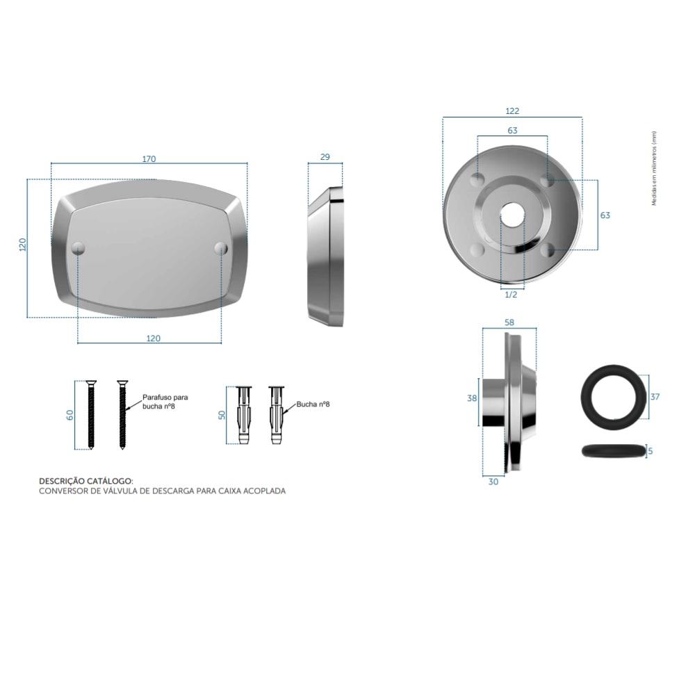 Kit Conversor Valvula de Descarga para Caixa Acoplada Blukit 340366