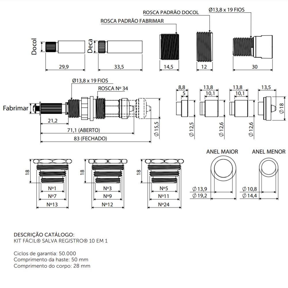 Kit Facil Salva Registro 10 em 1 Blukit 060101