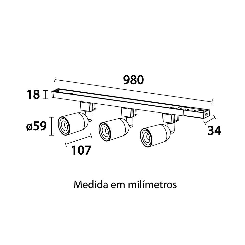 Kit Trilho Eletrificado com 3 Spots ABS 3x5W 3000K Preto Blumenau 34153001