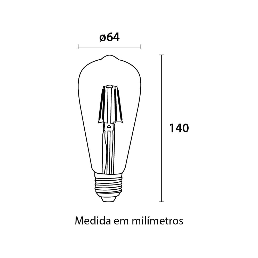 Lampada Filamento LED ST64 4W E27 Blumenau 0326000