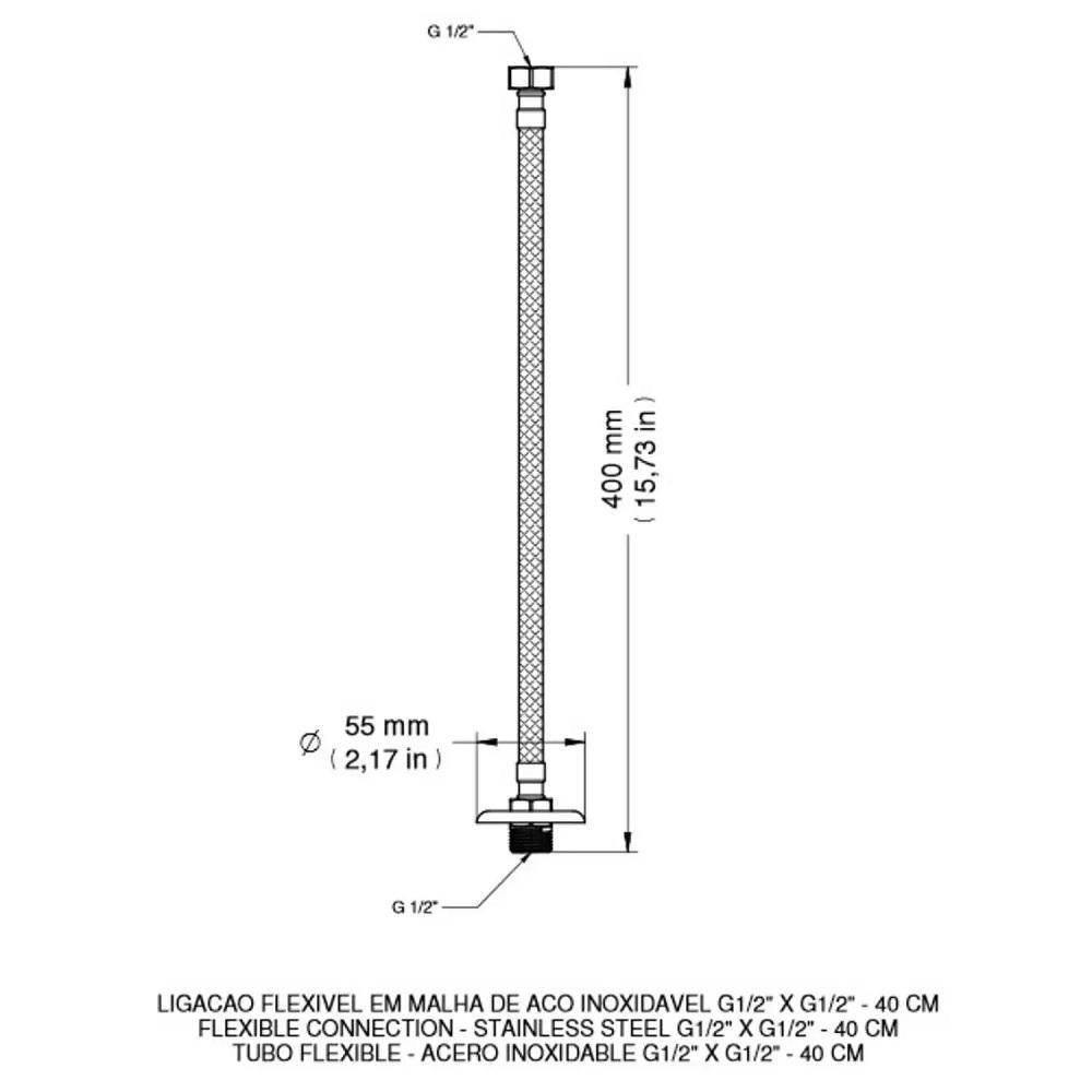 Ligacao Flexivel em Aco Inox 40cm Docol 00607200