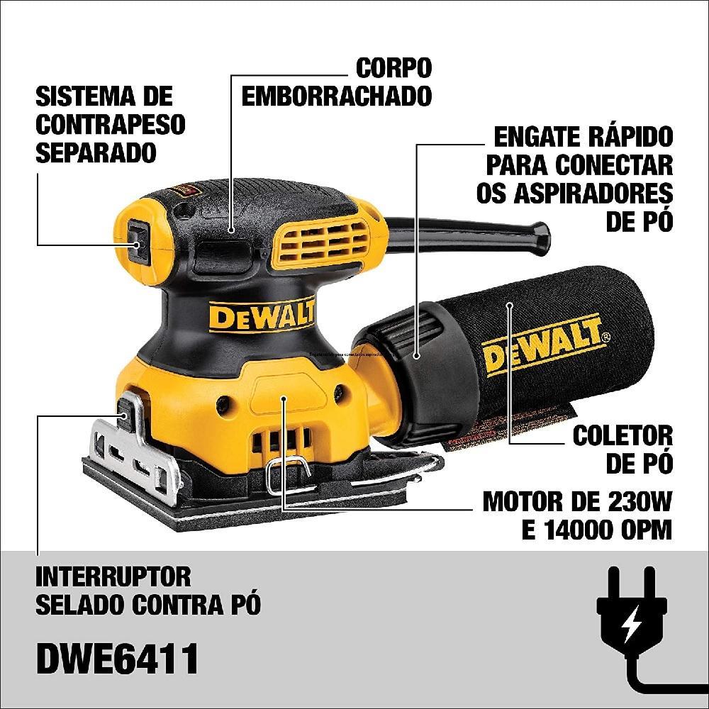 Lixadeira Orbital 230W 220V Dewalt DWE6411