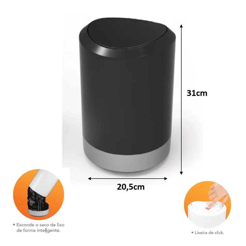 Lixeira Plastica de Banheiro 5L Preta PratK 10030 001