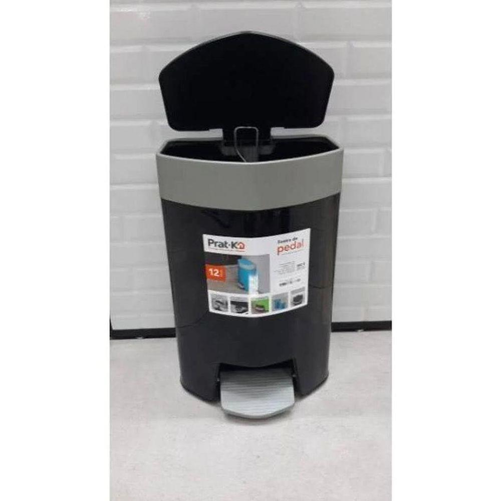 Lixeira Plastica de Pedal 12L Preta Pratk 10040 003