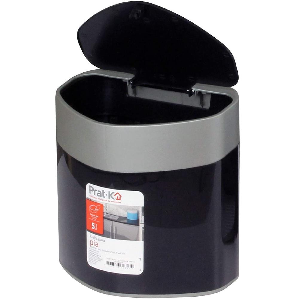 Lixeira Plastica de Pia 5L Preta PratK 10020 003