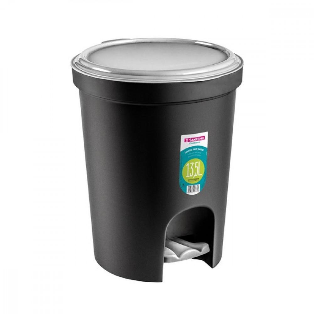 Lixeira Plastica Redonda 13,5L Preta com Pedal Sanremo SR275/20