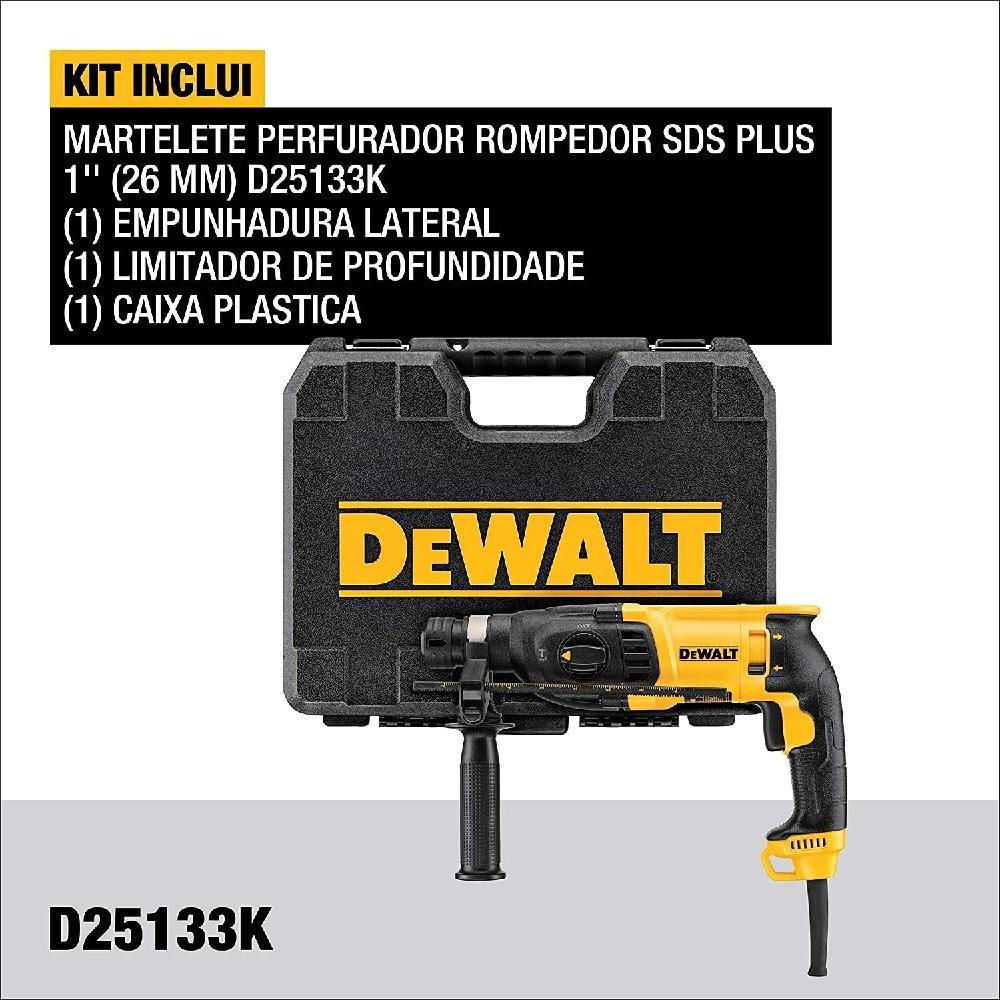 Martelete Perfurador Rompedor SDS Plus 800W 220V Dewalt D25133K