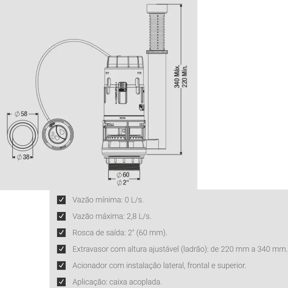 Mecanismo de Saida Dual Flush 3em1 para Caixa Acoplada Censi 9455