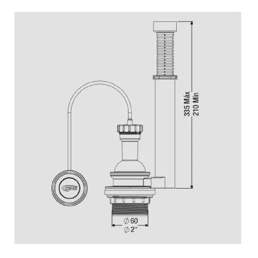 Mecanismo de Saida para Caixa Acoplada Pneumatico 3 em 1 Censi 9468
