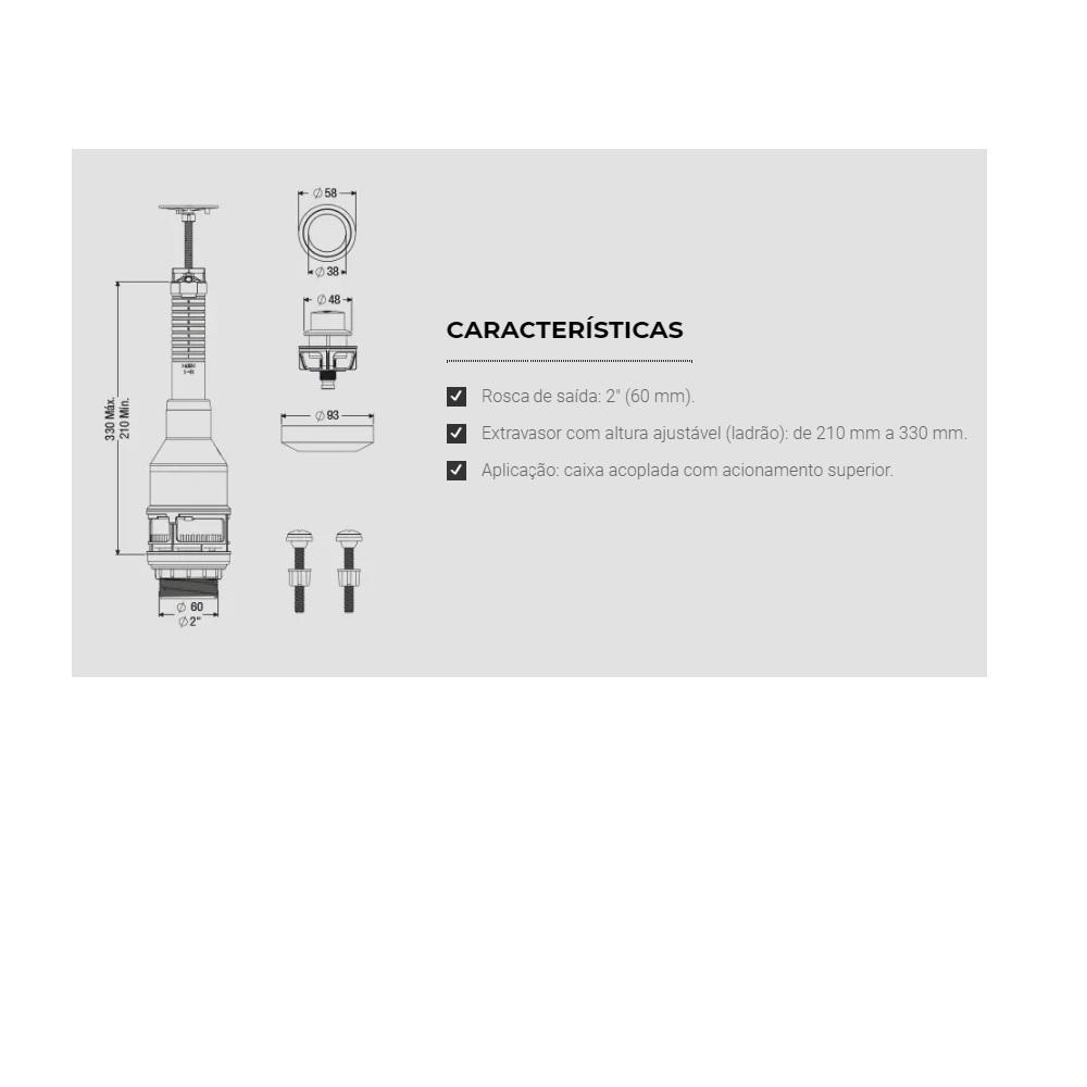 Mecanismo de Saida Soft Touch Superior para Caixa Acoplada Censi 9540