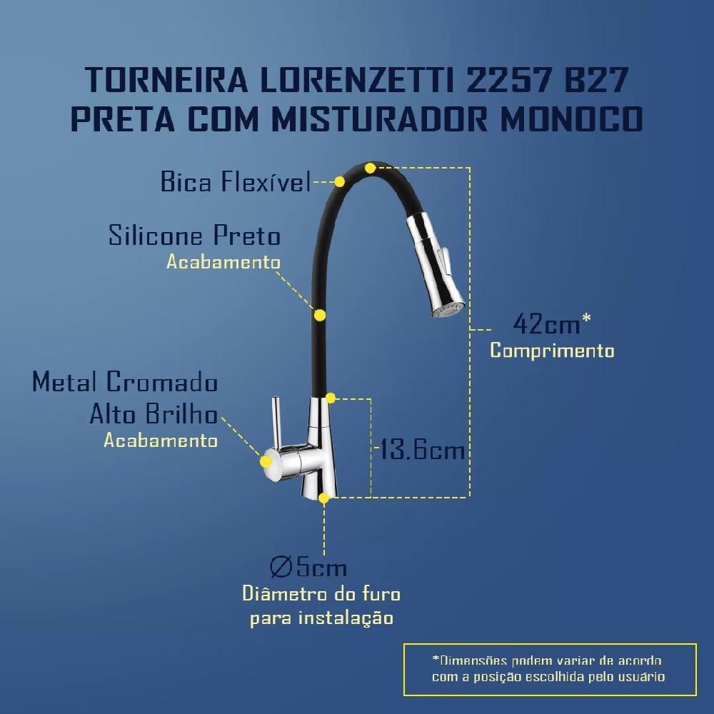 Misturador Monocomando Cozinha Black Flexivel Lorenzetti 2257 B27