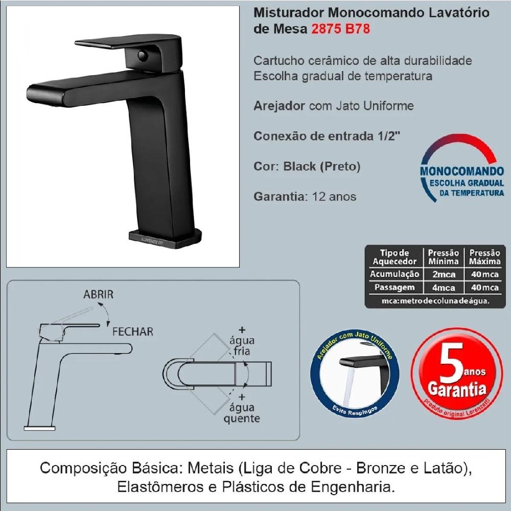 Misturador Monocomando de Mesa para Lavatorio Bica Baixa Preto Lorenzetti 2875 B78