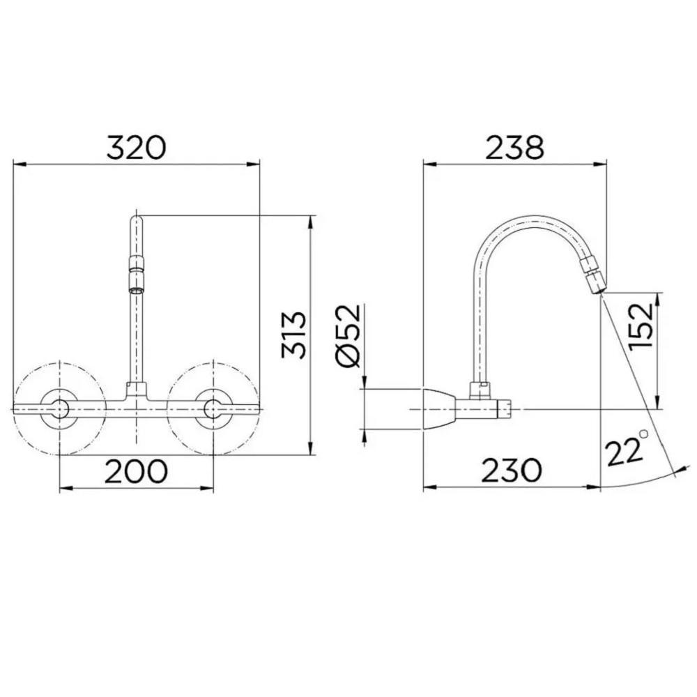 Misturador para Cozinha de Parede Bica Alta Docol Gali 00801206