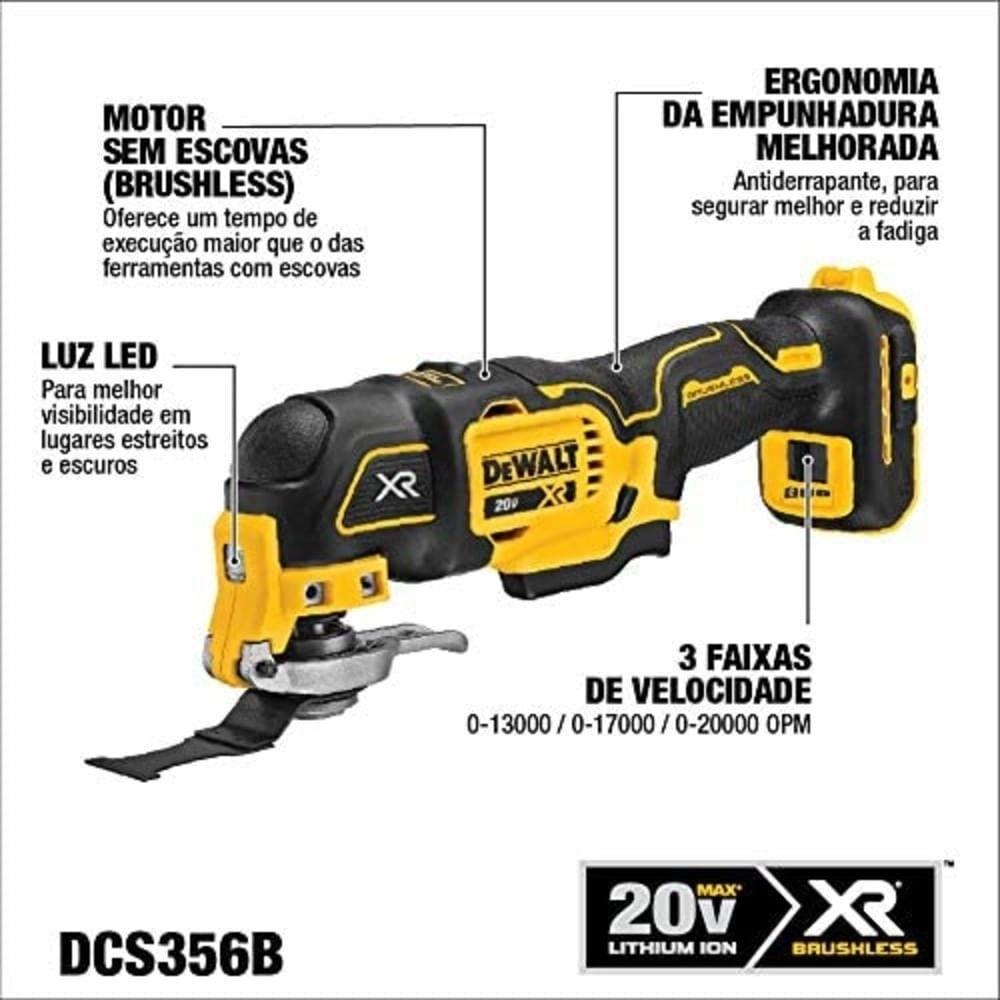 Multi Ferramenta Oscilante 20V Max Brushless Sem Bateria Dewalt DCS356B