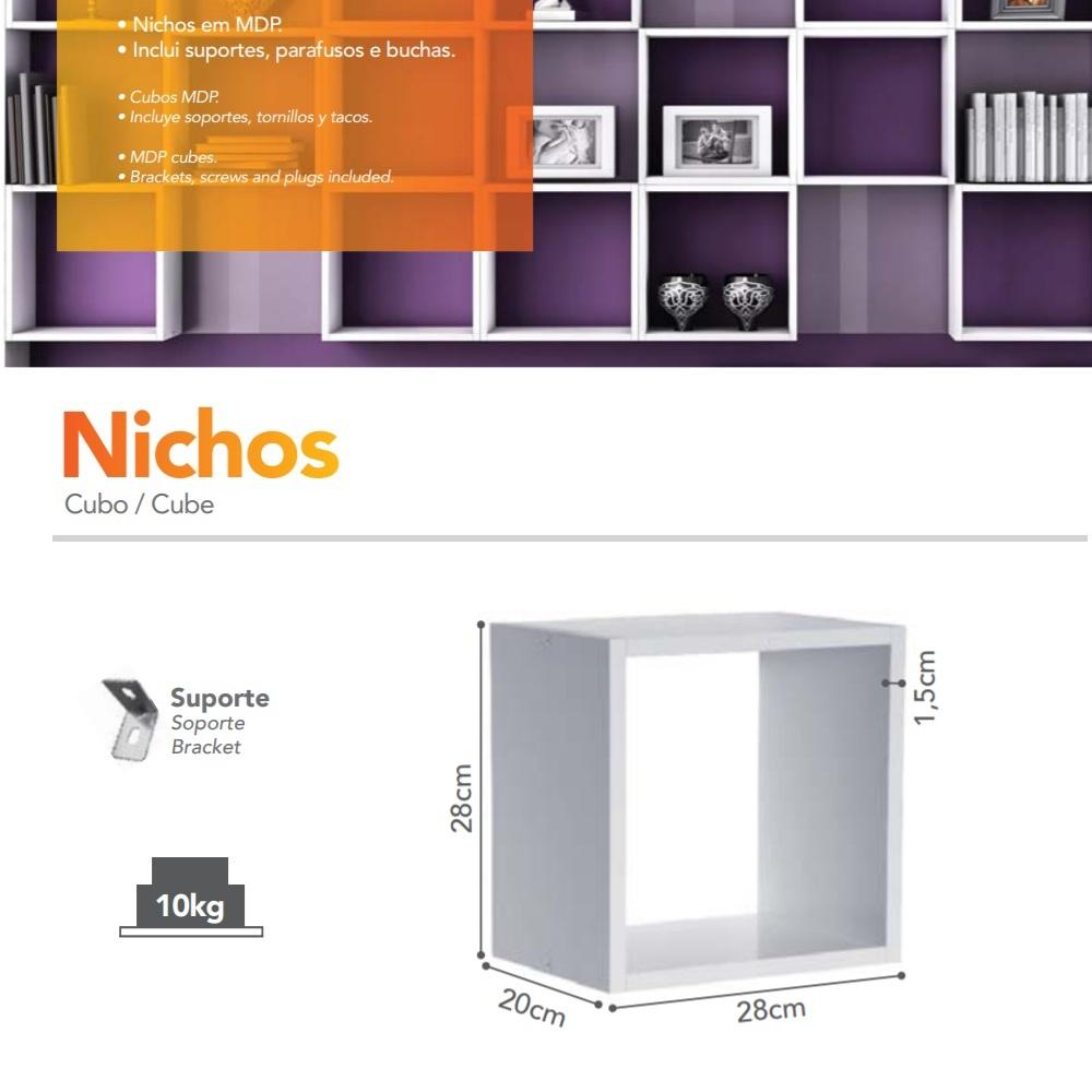 Nicho Simples 28x28x20cm Branco PratK 08080 528