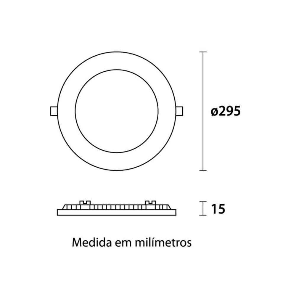 Painel Embutir LED Redondo 6500K 24W Bivolt Blumenau 80366004