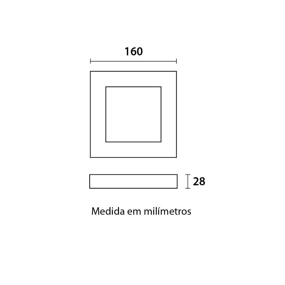 Painel LED Slim Sobrepor Quadrado 12W 6500K Blumenau 80706004