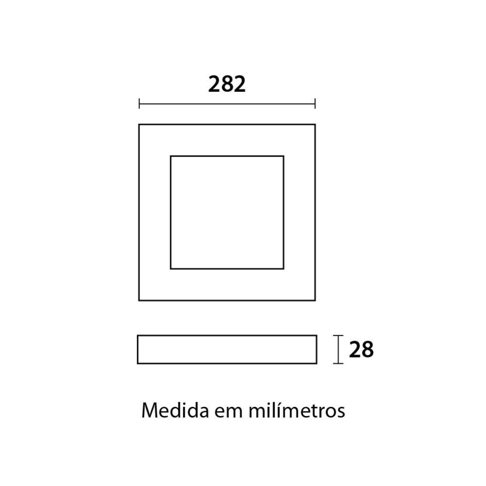 Painel LED Slim Sobrepor Quadrado 24W 6500K  Blumenau 80856004