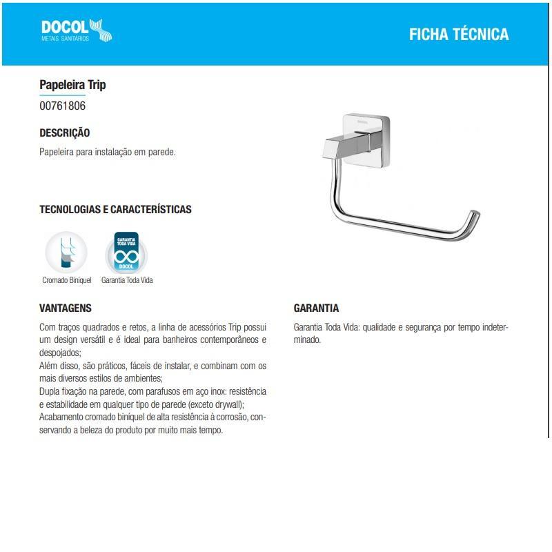 Papeleira Cromada Docol Trip 00761806
