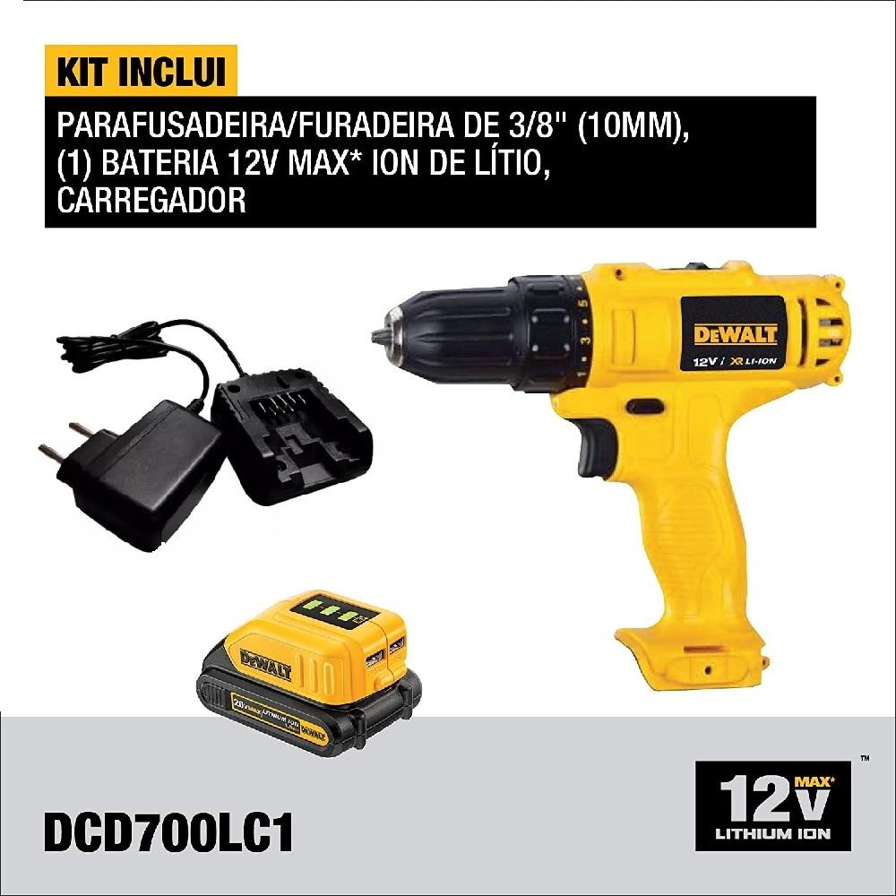 Parafusadeira 3/8 Pol Bateria 12V Litio Dewalt DCD700LC1