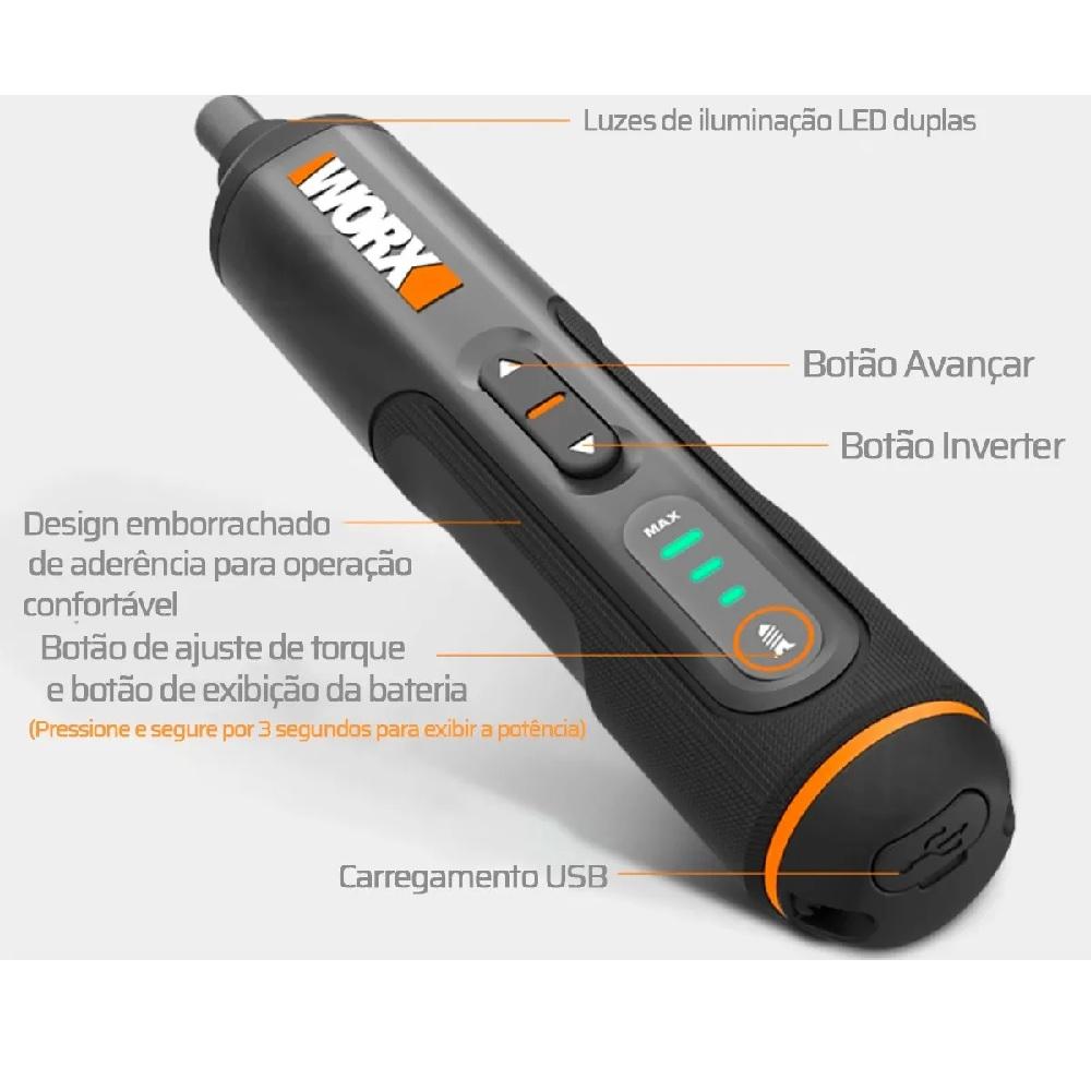 Parafusadeira a Bateria 3.6V Screwdriver Pen com Bits e Maleta Worx WX240