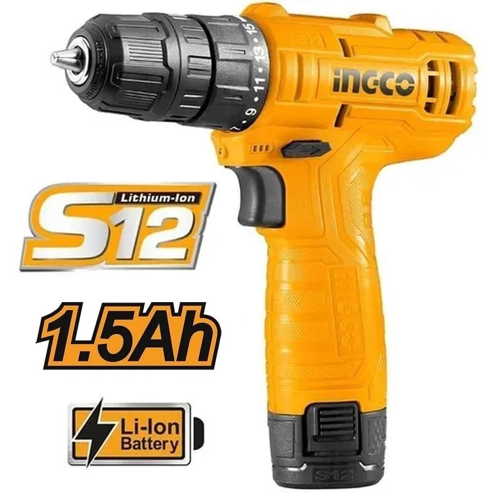 Parafusadeira Furadeira 3/8Pol Bateria Ion Litio 12V Ingco CDLI124159