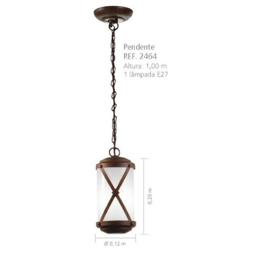 Pendente 1 Lampada Metal envelhecido Madelustre Imperio 2464