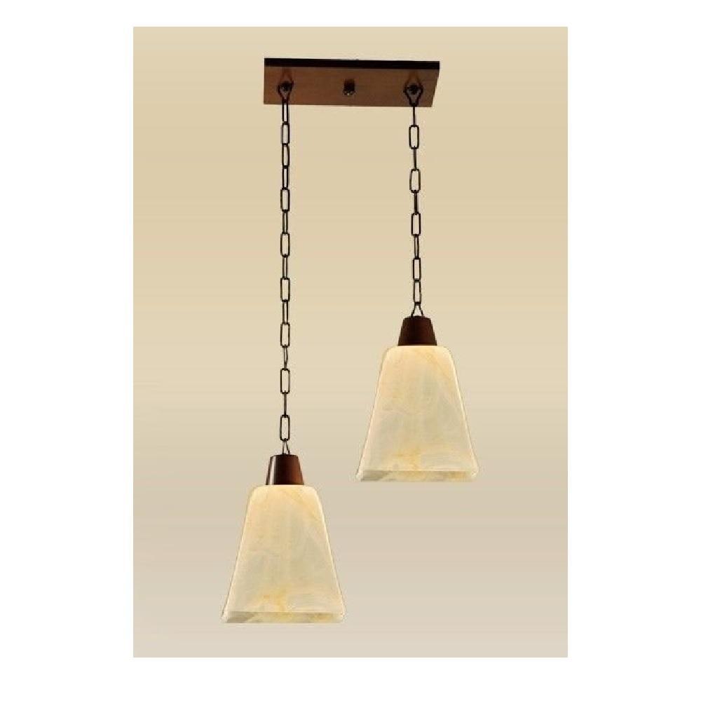 Pendente Madeira imbuia Vidro ambar 2 Lamp Madelustre Quadrato 2101