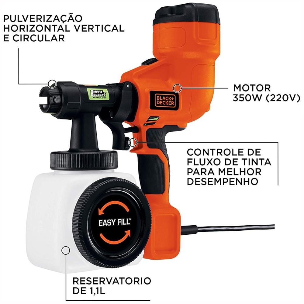 Pistola de Pintura e Pulverizacao HVLP 220V Black&Decker BDPH200B