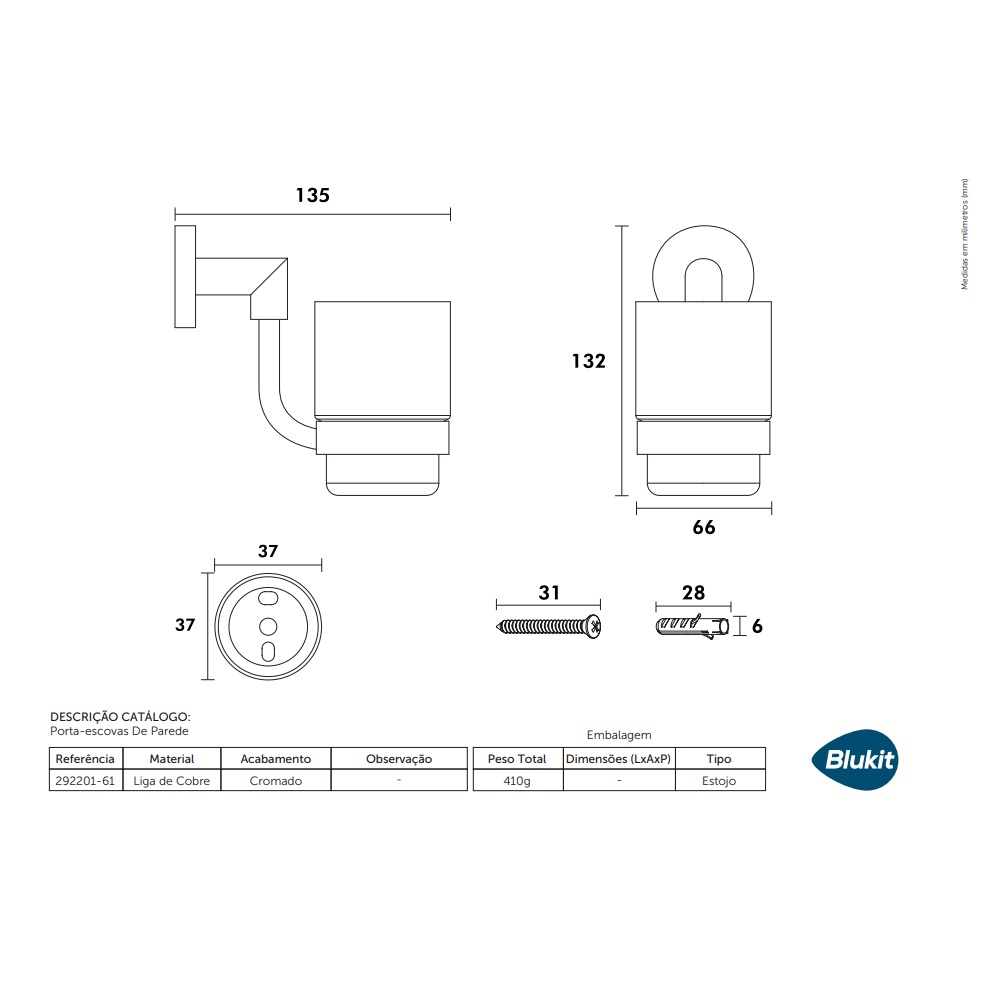 Porta Escovas de Parade Mod. MIX Blukit 292201-61