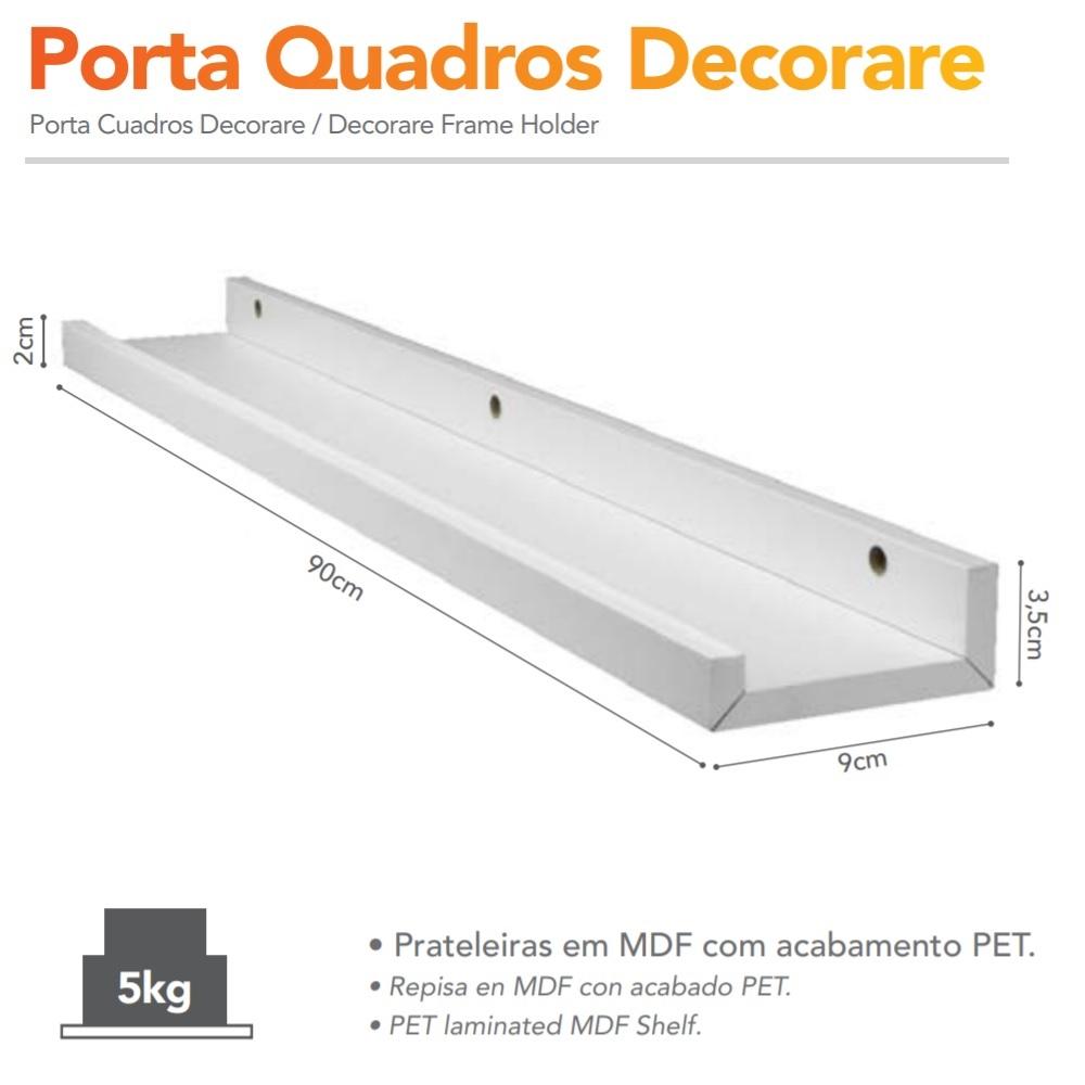 Porta Quadros Decorare em MDF 90x9cm Branco PratK 8790 090