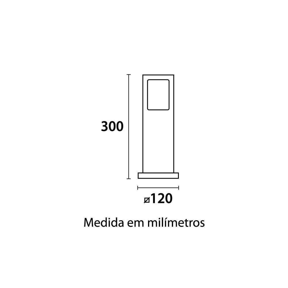 Poste Balizador Garten 30cm Vidro Pontilhado 1xE27 Preto Germany 14110100