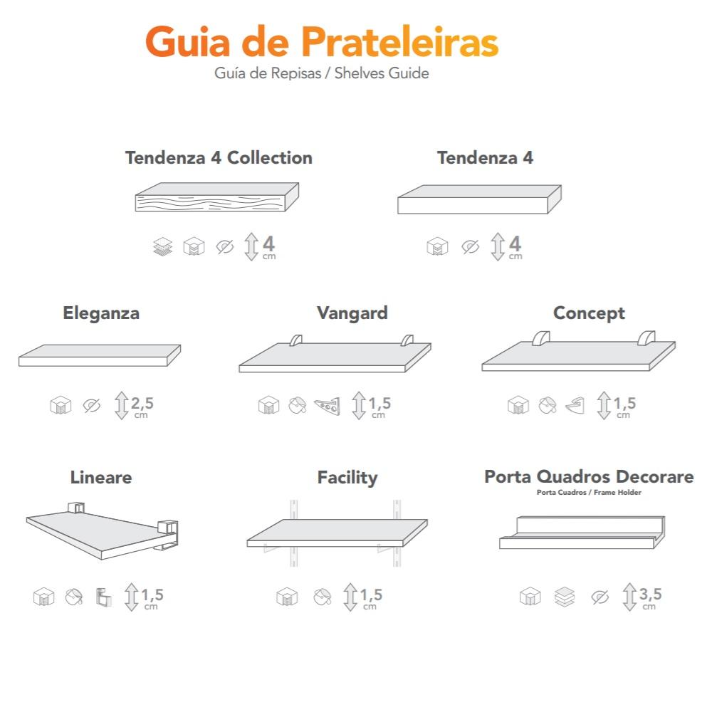 Prateleira Concept Tabaco 25x80cm com Suporte PratK 8852 070