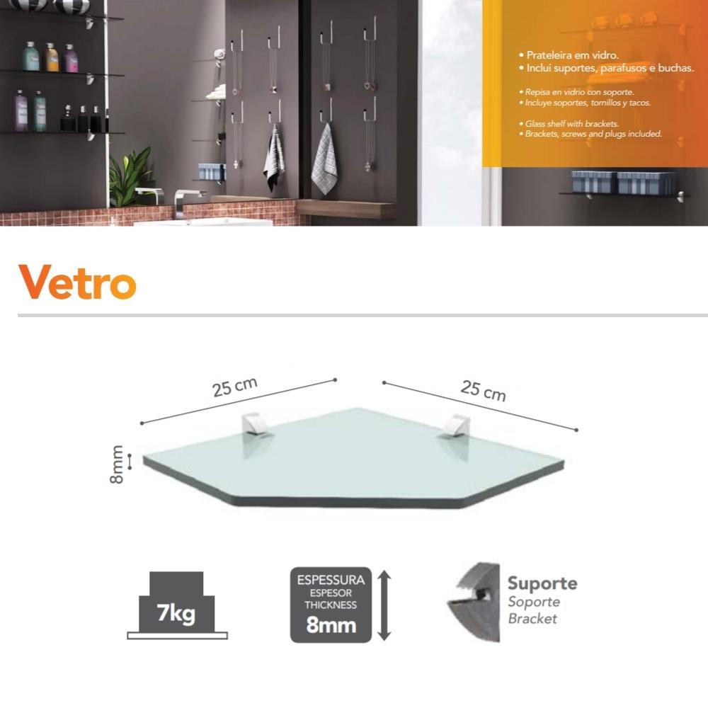 Prateleira de Canto Recorte Vidro 25x25cm PratK 08619 002