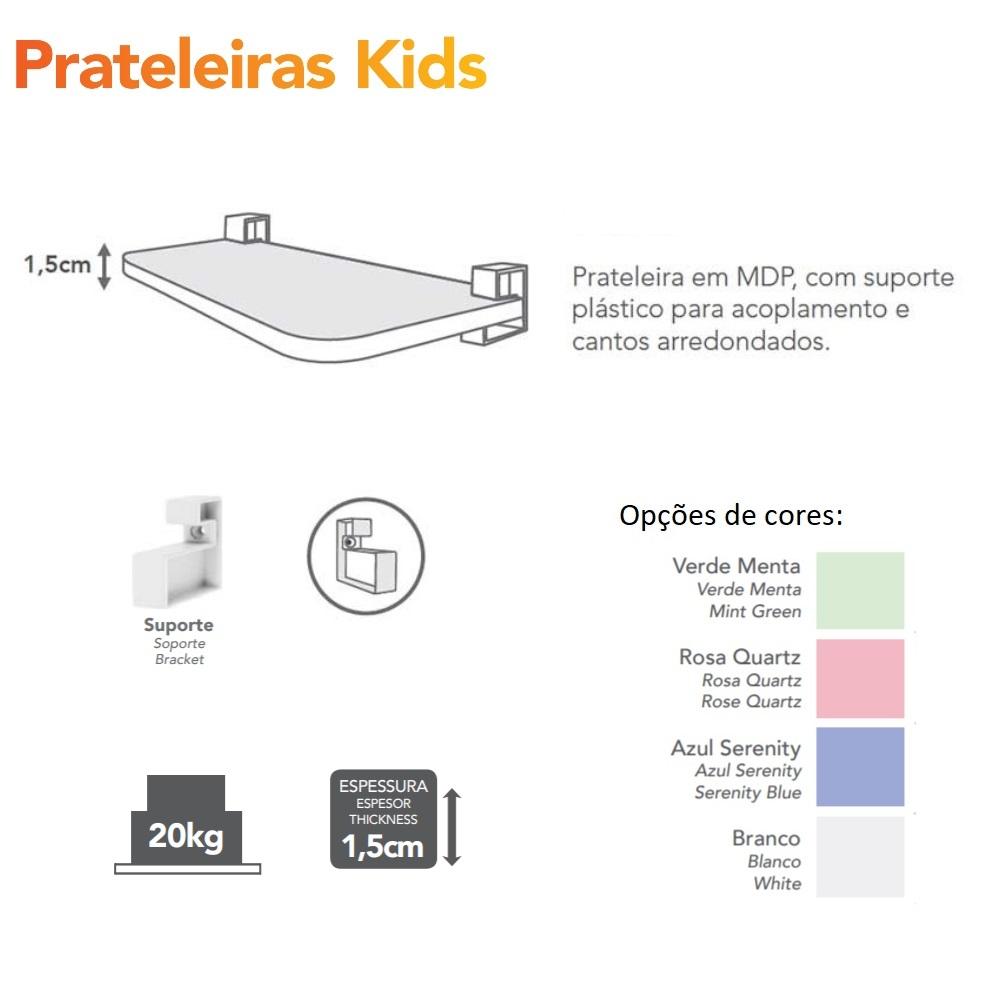 Prateleira KIDS Reta com Suporte 60x25cm Rosa PratK 8007 035