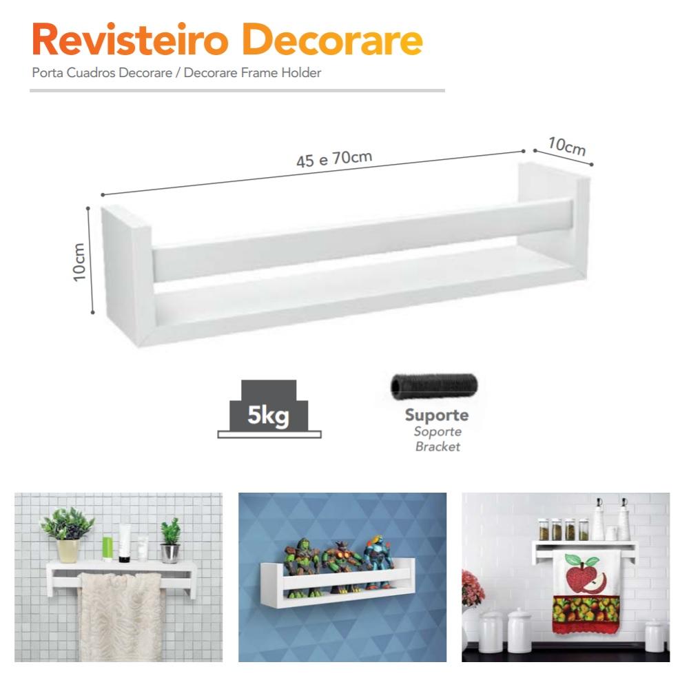 Prateleira Revisteiro Branca 70x10x10cm PratK 08785 070