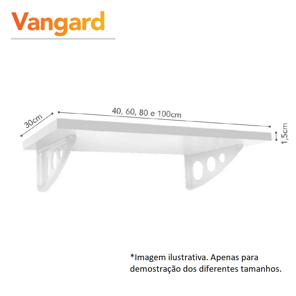 Prateleira Vangard Tabaco 30x60cm com Suporte PratK 8852 100