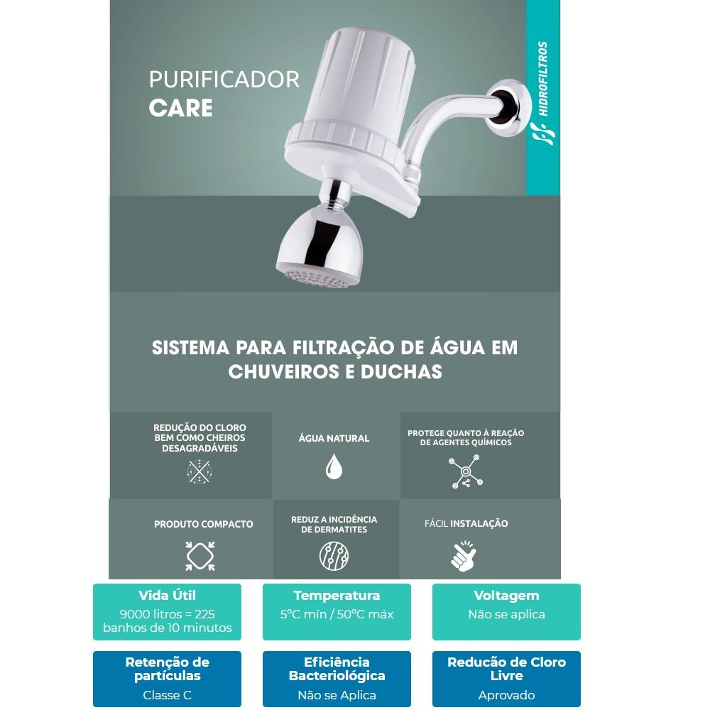 Purificador Agua Chuveiro e Ducha 3 Jatos Hidrofiltros 916 0021